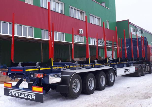 Крупная партия 4-осных полуприцепов сортиментовозов STEELBEAR отправилась в Вологодский край!